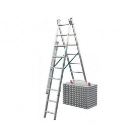 Алюминиевая трехсекционная лестница 3х7 ступеней