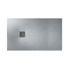 TERRAN піддон 120х80 см ультраплоскій з штучного каменю Stonex в комплекті з трапом і сифоном цемент