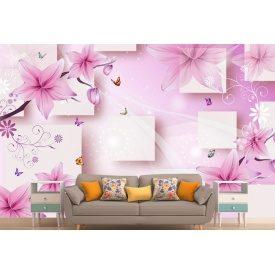 Фотообои 3Д квадраты с цветами