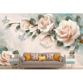 Фотообои 3Д пудровые розы в стиле прованс