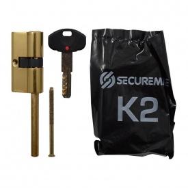 Цилиндр Securemme 30/30 мм 5 кл 1 монтажный ключ со штоком полированная латунь