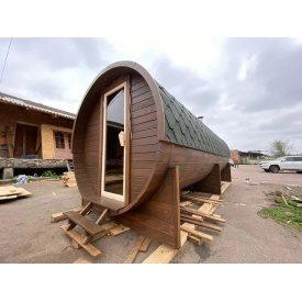 Деревянная баня бочка с панорамным окном из термодерева 6,0х2.2