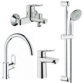 Grohe BauLoop 123225K комплект смесителей 4 в 1 умывальник, ванна, кухня + душевая стойка + ПАДОРОК + ДОСТАВКА