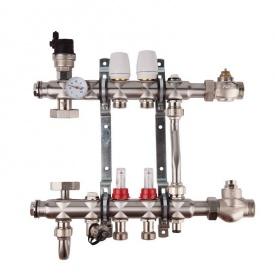 """SD FORTE Колекторна група системи тепла підлога 001 1""""х 8"""" з нержавіючої сталі SFE0018"""