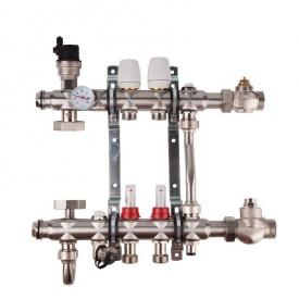 """SD FORTE Колекторна група системи тепла підлога 001 1""""х 5"""" з нержавіючої сталі SFE0015"""