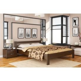 Деревянная кровать Рената с технологией щит из бука 120x200 с 4 см между ламелями тёмный орех (101)