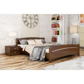 Деревянная кровать Венеция с технологией щит из бука 140x200 с 4 см между ламелями тёмный орех (101)