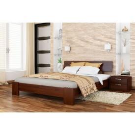 Деревянная кровать Титан с технологией щит из бука 140x190 с 4 см между ламелями тёмный орех (101)