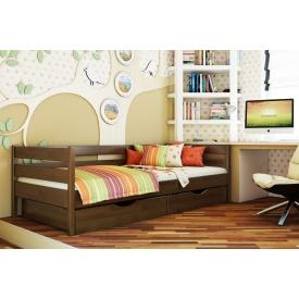 Дитяче ліжко Нота з технологією щит з бука 90x200 з 4 см між ламелями темний горіх (101)