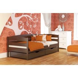 Дитяче ліжко Нота Плюс з бука з технологією щит 80x190 з 4 см між ламелями темний горіх (101)