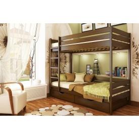 Двухъярусная кровать Дуэт из бука с технологией щит 80x190 с 4 см между ламелями тёмный орех (101)
