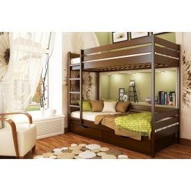 Двухъярусная кровать Дуэт с технологией массив из бука 80x200 с 4 см между ламелями тёмный орех (101)