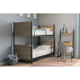 Металлическая двухъярусная кровать Арлекино 90x190 с основной из металлических трубок с расстоянием 8 см чёрный