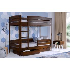 Двухъярусная кровать Дуэт Плюс с технологией массив из бука 90x200 с 4 см между ламелями тёмный орех (101)