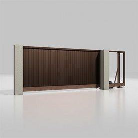 Автоматические откатные ворота Alutech Prestige с приводом Roteo сэндвич-панель S-гофр шоколад (RAL 8017)
