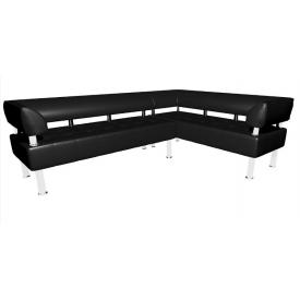 Кутовий офісний диван Тонус Sentenzo 2200х1600х700 мм чорний з підлокітниками