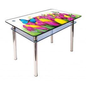 Стол обеденный прямоугольный с закругленными углами КС-1 стекло 10 мм фотопечать