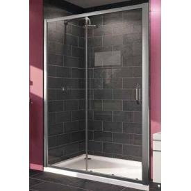 X1 двері 140 см односекційна розсувна для ніші і бічної стінки профіль сатин хром скло прозоре
