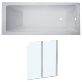 Комплект LIBRA ванна 170x70x45,8 см без ножек + EGER шторка на ванну 120x138 см профиль белый