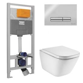Комплект GAP Rimless унитаз подвесной с сиденьем с микролифтом + IMPRESE комплект инсталляции 3в1(клавиша PANI хром)