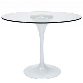 Круглий стіл Тюльпан-G скляна прозора стільниця 80 см