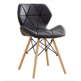 Мягкий обеденный стул Star 750х450х370 мм черный кожзам деревянные ножки светлые
