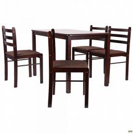 Кухонний стіл і стільці AMF Брауні дерев`яні темний шоколад комплект