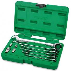 Набір ключів комбінованих з тріскачкою TOPTUL 10 од 8-19 мм + перехідники GAAI 1004