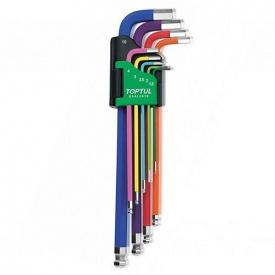 Набор ключей шестигранных с шаром TOPTUL 1,5-10 мм 9 ед разноцветных GAAL 0918