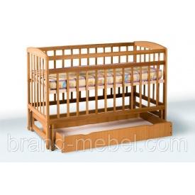 Деревянная кроватка-колыбель Гойдалка с ящиком 1В212-2 льняное масло