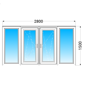 Лоджия OPEN TECK Elit 70 с однокамерным энергосберегающим стеклопакетом 2800x1500 мм