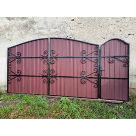 Распашные ворота с профнастилом 3.4х2 м и калиткой 0,9х2 м