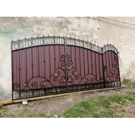 Ворота ДЕШЕВА КУВАННЯ з профнастилом і кованими елементами 3.40х2.0 м