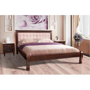 Двоспальне ліжко СОНАТА з масиву клена з м'яким узголів'ям 1600x2000