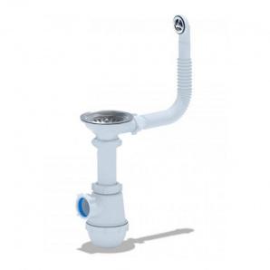 Сифон ANI Plast A0142S для кухонного миття, випуск 115 мм з круглим переливом вихід 50 мм