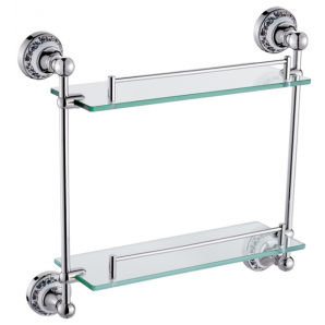 Поличка скляна 2-х поверхова (срібло) HI-NON