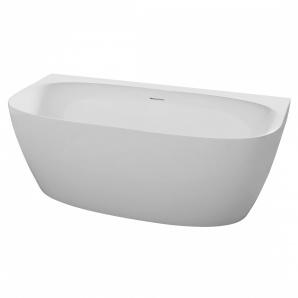 Ванна 170x80x58 см окрема пристінна з сифоном матова