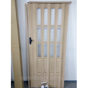 Дверь гармошкой полуостекленная 860х2030х12мм бук 803