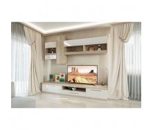 Гостиная Мир мебели Пальмира 2500х2050х500 мм дуб сонома/ белый лак