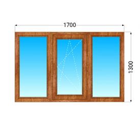 Деревянное окно из трех частей ЭКОдевелопмент Евробрус 78 дуб с двухкамерным энергосберегающим стеклопакетом 1700x1300 мм