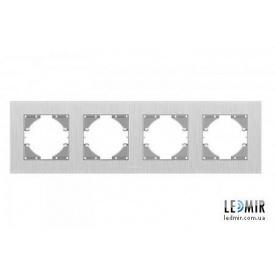 Рамка четырехместная горизонтальная Videx Binera серебристый алюминий
