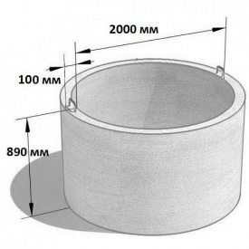Стеновое кольцо колодцев КС 20.9 2200х890 мм