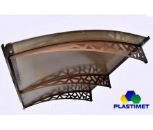 Готовий збірний металевий дашок Dash`Ok Хайтек 2,05x1,5 м з стільниковим полікарбонатом 6 мм