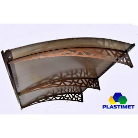 Готовый сборный металлический козырек Dash`Ok Хайтек 2,05x1,5 м с сотовым поликарбонатом 6 мм