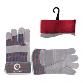Перчатка комбинированная из замши и ткани INTERTOOL SP-0014