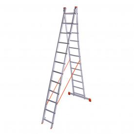 Драбина двосекційна алюмінієва Laddermaster Sirius A2A12. 2x12 сходинок