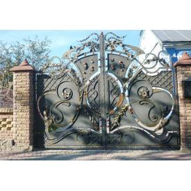 Ворота кованые с калиткой и замком Legran