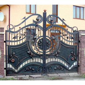 Кованные ворота симметрические Киев упрочнённые чёрные Legran