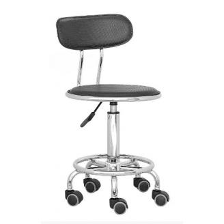 Кресло кассира Бейсик черное на колесиках хром