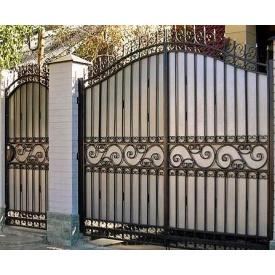 Ворота кованые с калиткой с профнастилом Б0022пр Legran